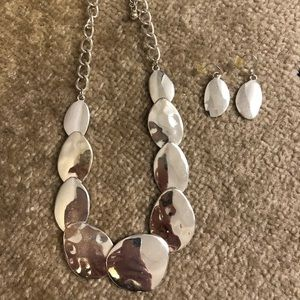 Silver Hammered Necklace and Earring Set